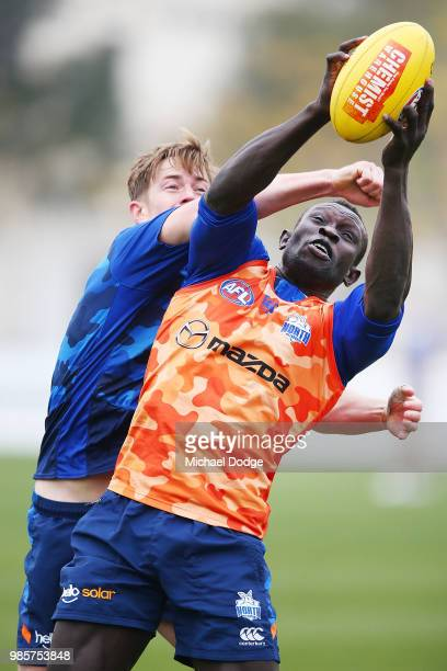 Majak Daw of the Kangaroos marks the ball against Trent Dumont of the Kangaroos during a North Melbourne Kangaroos AFL training session at Arden...