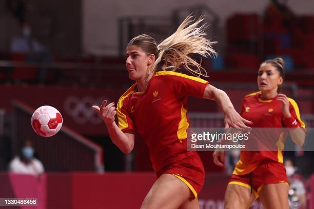 Majda Mehmedovic of Team Montenegro shoots and scores a goal during the Women's Preliminary Round Group A match between Montenegro and Angola on day...
