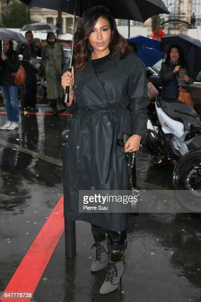 Majda Sakho arrives at the Mugler show as part of the Paris Fashion Week Womenswear Fall/Winter 2017/2018 on March 4 2017 in Paris France