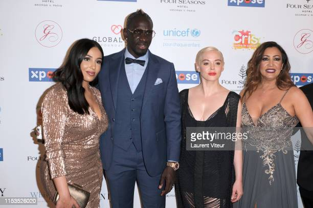 Majda Sakho Football Player Mamadou Sakho Actress Rose McGowan and Maria Bravo attend the Global Gift Gala Paris 2019 at Four Seasons Hotel George V...