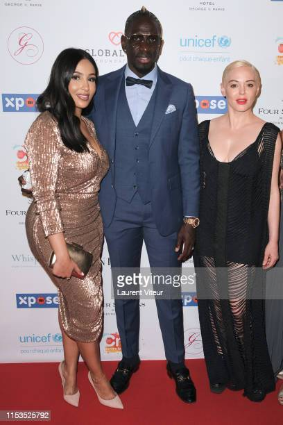 Majda Sakho Football Player Mamadou Sakho and Actress Rose McGowan attend the Global Gift Gala Paris 2019 at Four Seasons Hotel George V on June 03...