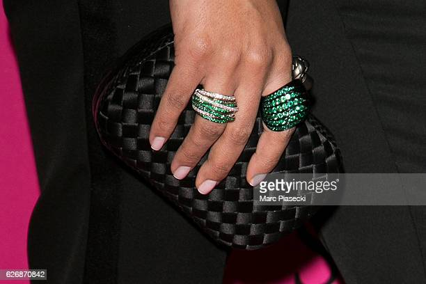 Majda Sakho ring detail attends '2016 Victoria's Secret Fashion Show' Pink carpet photocall at Le Grand Palais on November 30 2016 in Paris France