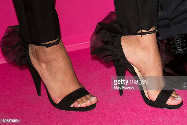 Majda Sakho shoe detail attends '2016 Victoria's Secret Fashion Show' Pink carpet photocall at Le Grand Palais on November 30 2016 in Paris France