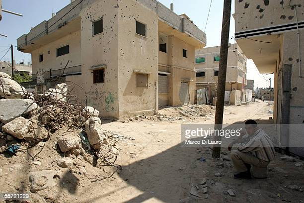 Majed Kishta 35yearsold sits on a corner September 19 2005 in Rafah refugee camp Gaza Strip Majed's house has been allegedly almost completely...