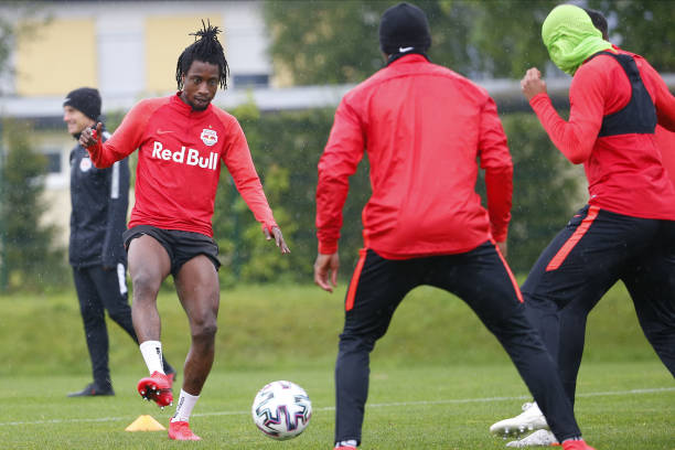 Majeed Ashimeru of Salzburg controls the ball during the first RB Salzburg team trainings session at Trainingszentrum Taxham on May 15 2020 in...