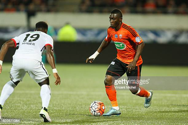 Majeed Waris of Lorient during the semi-final French Cup between Lorient and Paris Saint-Germain at Stade du Moustoir on April 19, 2016 in Lorient,...