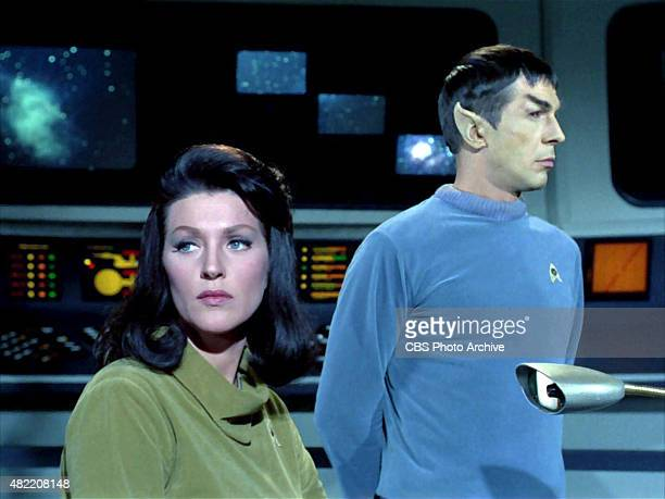 Majel Barrett as Number One and Leonard Nimoy as Commander Spock on the bridge of the USS Enterprise in the STAR TREK The Original Series episode The...