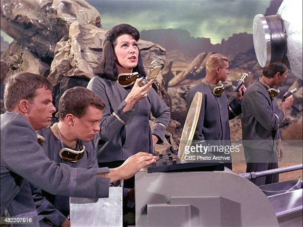 Majel Barrett as Number One talking on a communicator in the STAR TREK The Original Series episode The Cage This is the pilot episode completed early...