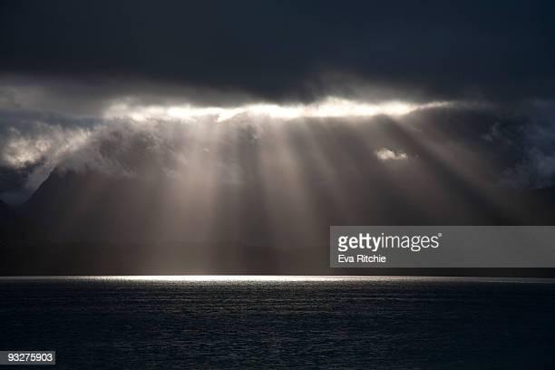 Majestci  Sun Rise and  Sun Rays in  Patagonia