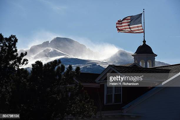 Majestic 14259 ft Longs Peak is seen behind the beautiful Stanley Hotel on January 12 2016 in Estes Park Colorado The hotel is located 104 miles from...