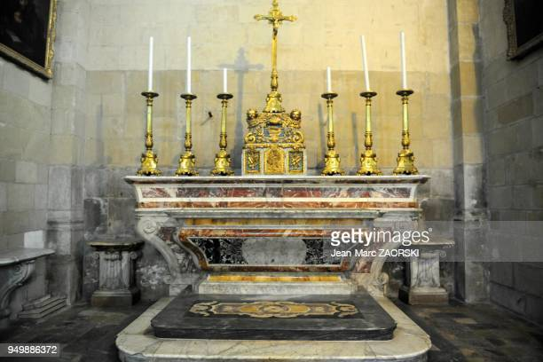 Majestic altar in polychrome marble in the SaintApollinaire Cathedral in Valence in France on June 4 2013