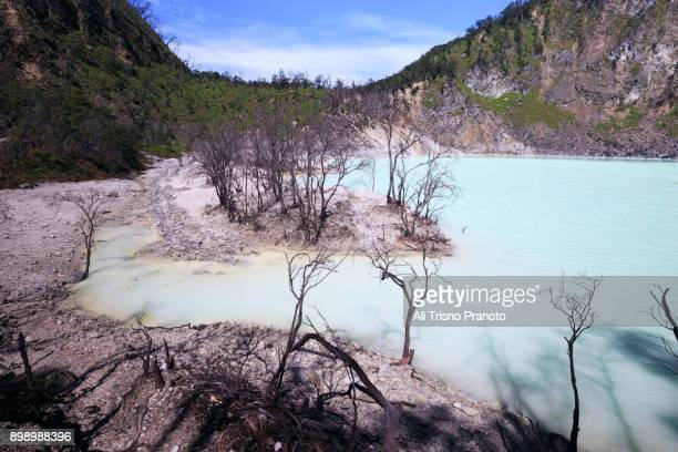 Majestic and scenic view of White Crater (Kawah Putih) in Ciwidey near Bandung, West Java, Indonesia.