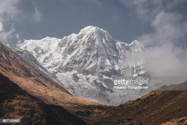 majestic annapurna south, annapurna base camp, nepal - annapurna south stock photos and pictures