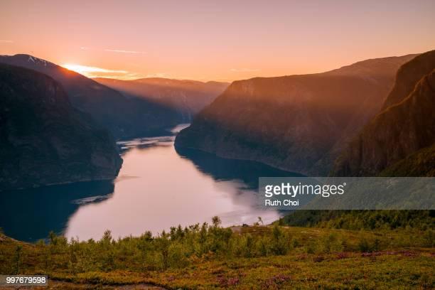 Majestic Aurlandsfjord at sunset