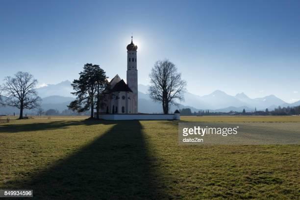 Majestic baroque Catholic Church St. Coloman, Schwangau, Füssen, Upper Bavaria, Germany