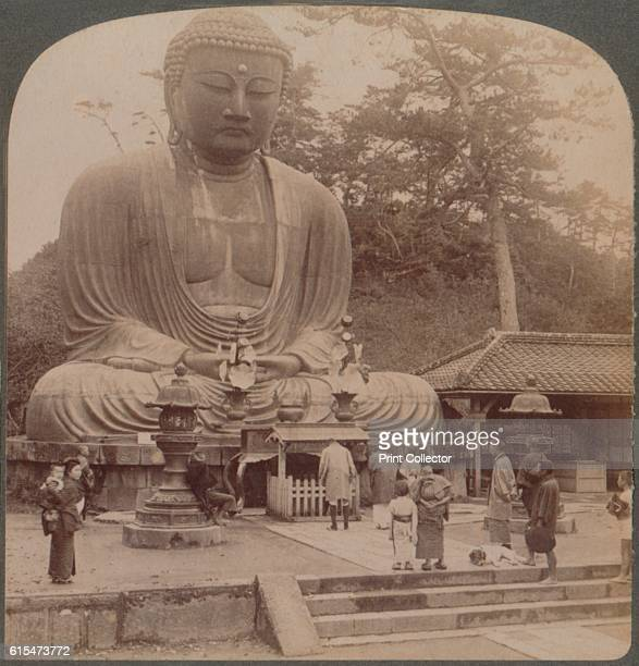 Majestic calm of the great bronze Buddha reverenced for six centuries Kamakura Japan' 1904 From The Underwood Travel Library Japan [Underwood...