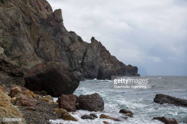 majestic cape fiolent, storm at the sea, crimea - argenberg stock pictures, royalty-free photos & images