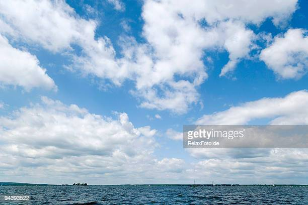 majestic cloudscape - blue sky white clouds (xxl) - wide angle stock pictures, royalty-free photos & images