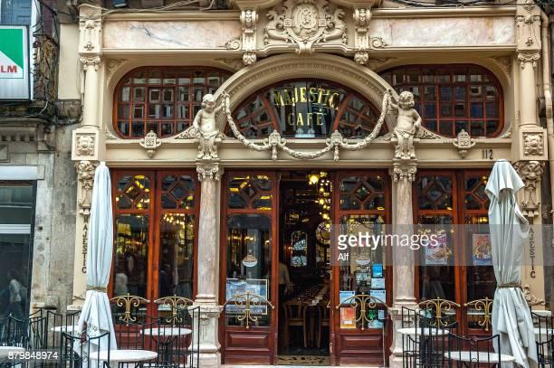 Majestic coffee shop facade in Porto, Portugal