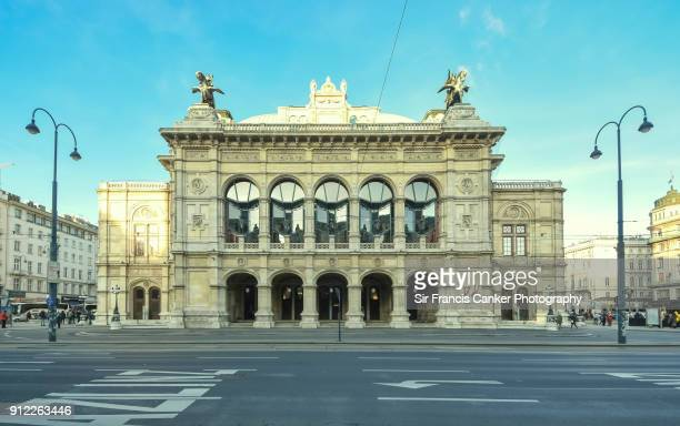 majestic facade of vienna state opera house in vienna, austria - vienna state opera stock pictures, royalty-free photos & images