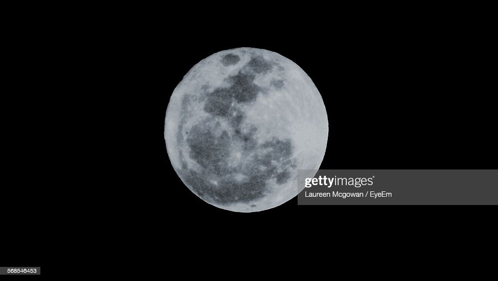 Majestic Full Moon In Clear Sky At Night : Stock Photo