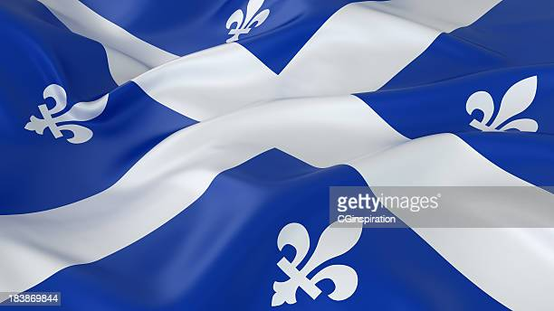 majestic glossy quebec flag - flag stock pictures, royalty-free photos & images