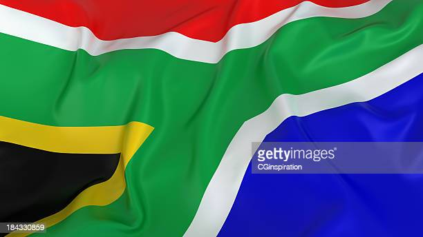 majestic glossy south african flag - south african flag stock photos and pictures