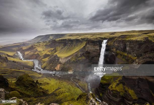 Majestic Haifoss waterfall at Southern Iceland.