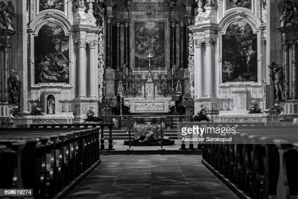 Majestic indoor details of old baroque church, Ebersmunster abbey, Alsace, France
