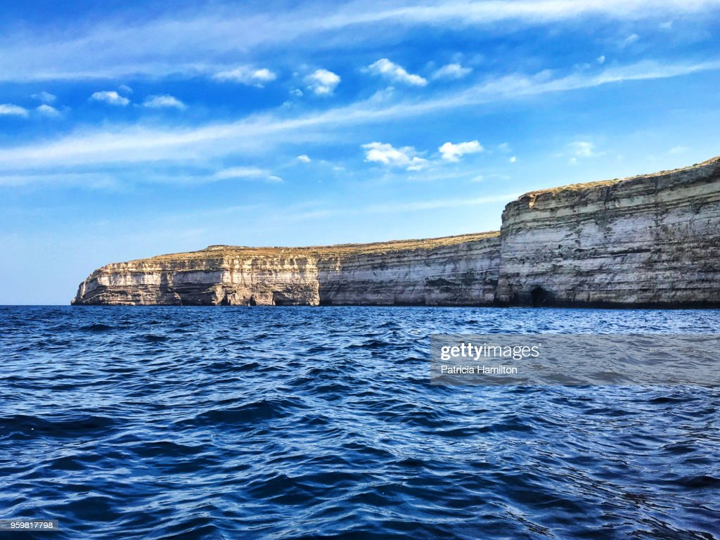 Majestic limestone cliffs at Gozo : Stock-Foto