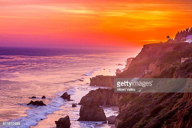 majestic malibu sunset colors - malibu beach stock pictures, royalty-free photos & images