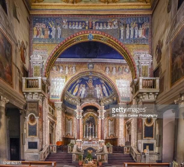 """majestic medieval mosaics inside basilica of """"st praxedes"""" basilica (""""basilica di santa prassede"""") in rome, lazio, italy, - renaissance stock pictures, royalty-free photos & images"""