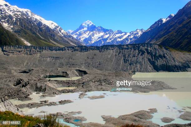 Majestic Mount Cook snowcapped mountain Range from the Hooker Glacier moraine lake, Canterbury, idyllic South New Zealand