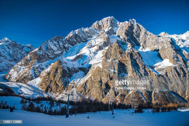 Majestic Mt Blanc in winter, Aosta Valley, Italy