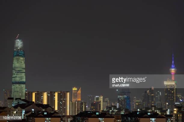 majestic night landscape of downtown kuala lumpur, malaysia. - shaifulzamri photos et images de collection