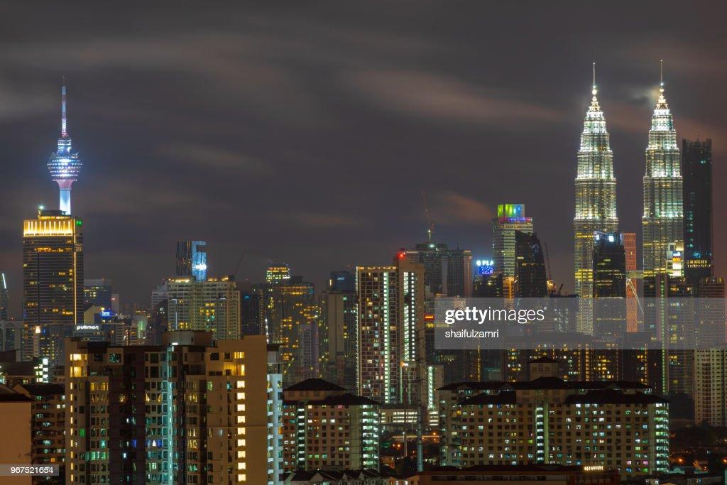 Majestic night landscape of downtown Kuala Lumpur, Malaysia : Stock Photo