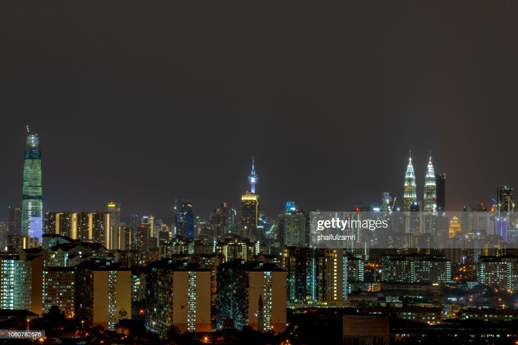 Majestic night landscape over downtown Kuala Lumpur, Malaysia. : Stock Photo