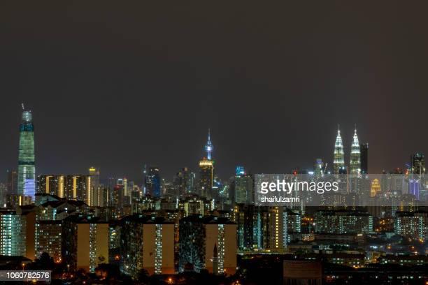 Majestic night landscape over downtown Kuala Lumpur, Malaysia.