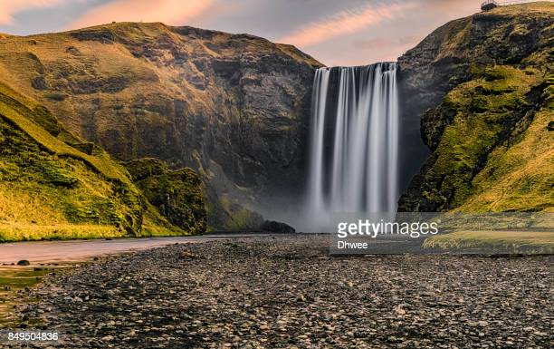 Majestic Of Skogafoss Waterfall In The Morning Sunrise