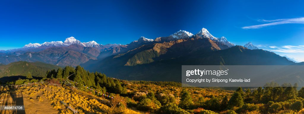 Majestic panoramic view of the Annapurna mountain Range from Poon Hill, Nepal. : Stock Photo