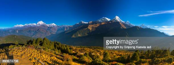 Majestic panoramic view of the Annapurna mountain Range from Poon Hill, Nepal.