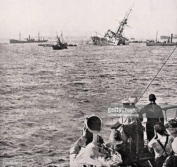 Majestic sinking May 27 1915 after being hit by torpedo off Gallipoli Peninsula Turkey From The War Illustrated Album deLuxe published London 1916