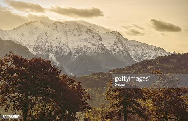 Majestic Snowcapped Mont Blanc In Autumn Morning, France