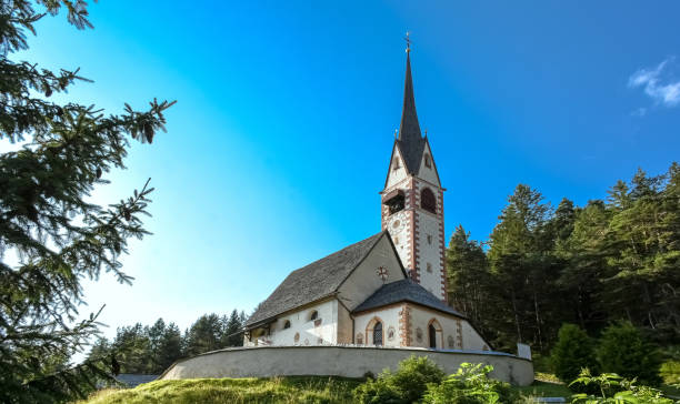 Majestic St Jakob chapel in Ortisei, Dolomites, South Tyrol, Italy