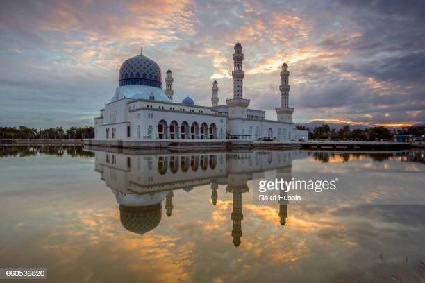 Majestic sunrise at Floating mosque in Kota Kinabalu City Mosque