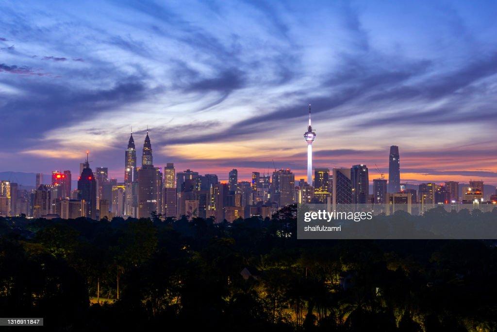 Majestic sunrise over downtown Kuala Lumpur, a capital of Malaysia : Stock Photo