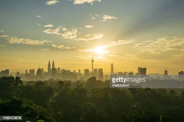 Majestic sunrise over downtown Kuala Lumpur, Malaysia.