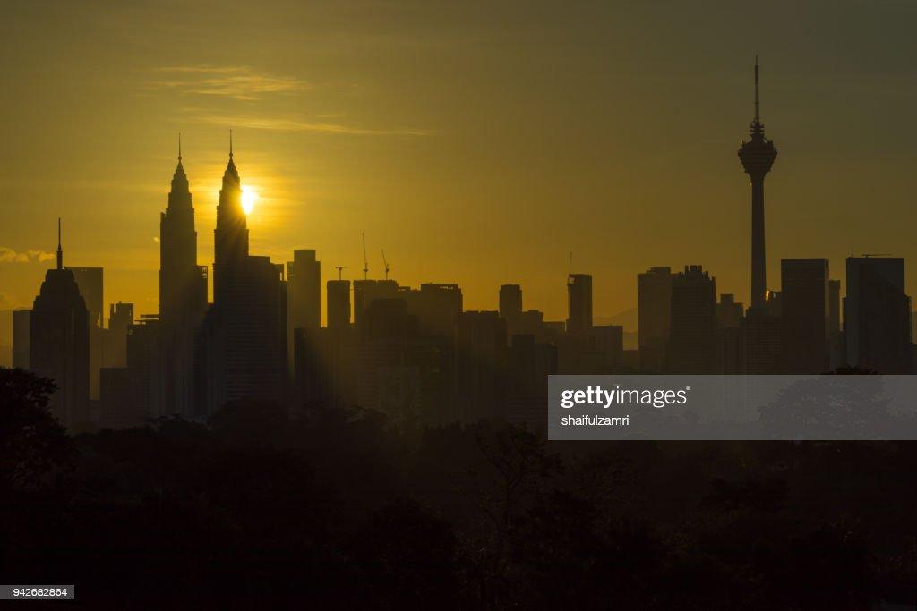 Majestic sunrise over downtown Kuala Lumpur, Malaysia : Stock Photo