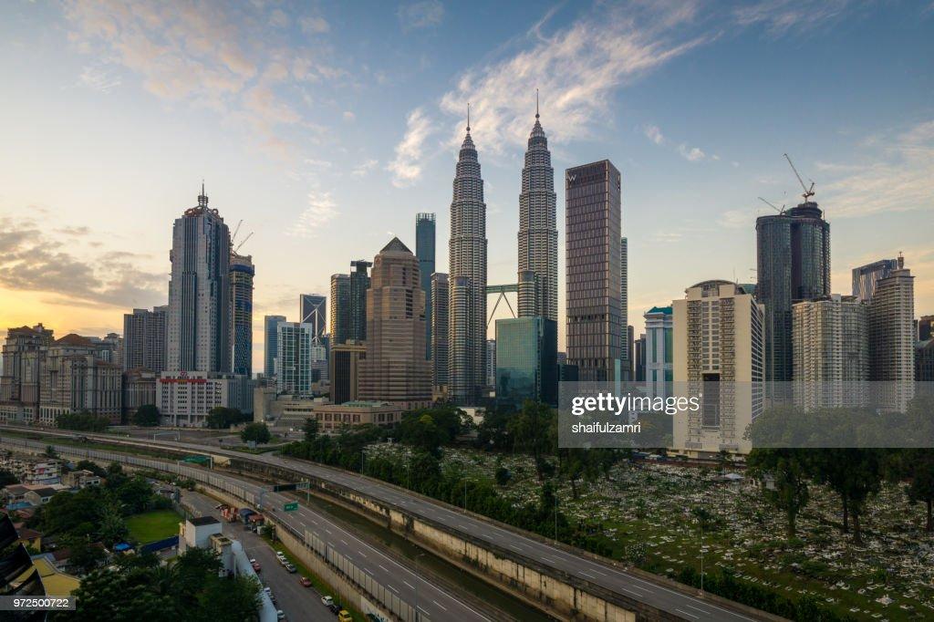 Majestic sunrise over downtown Kuala Lumpur, Malaysia. : Stock Photo
