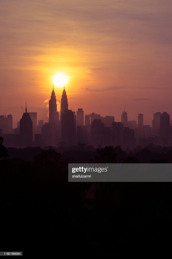 Majestic sunrise over downtown Kuala Lumpur : Stock Photo